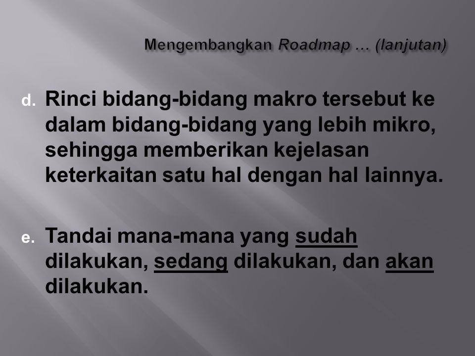Mengembangkan Roadmap … (lanjutan)