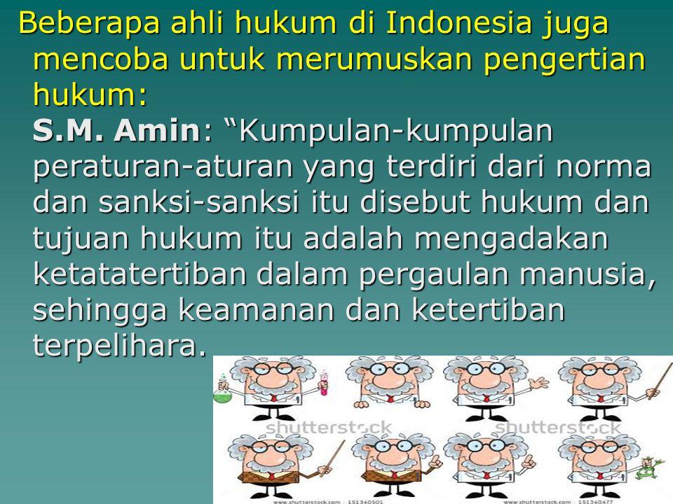 Beberapa ahli hukum di Indonesia juga mencoba untuk merumuskan pengertian hukum: S.M.