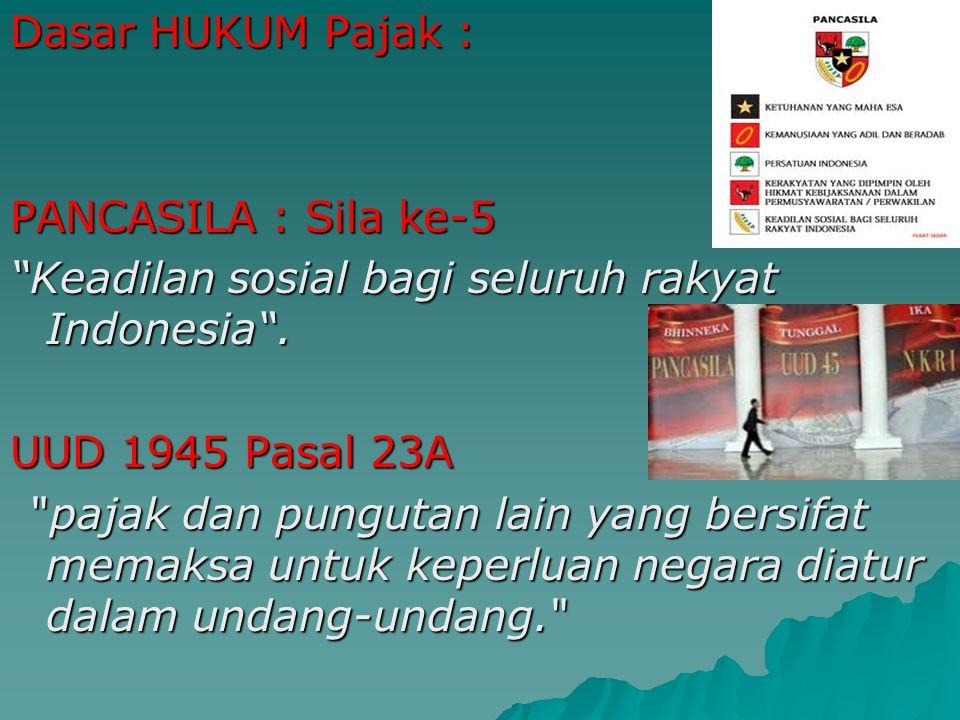 Dasar HUKUM Pajak : PANCASILA : Sila ke-5. Keadilan sosial bagi seluruh rakyat Indonesia . UUD 1945 Pasal 23A.