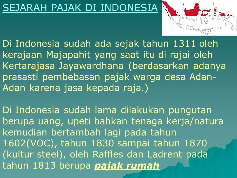 SEJARAH PAJAK DI INDONESIA