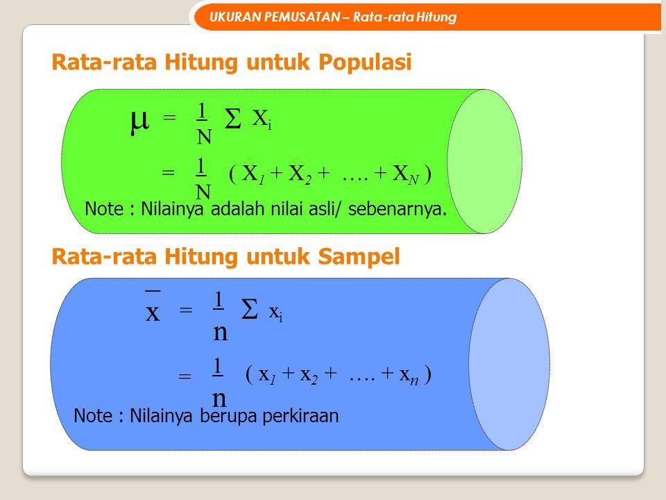 _ x n n Rata-rata Hitung untuk Populasi = 1 N Xi = 1 N