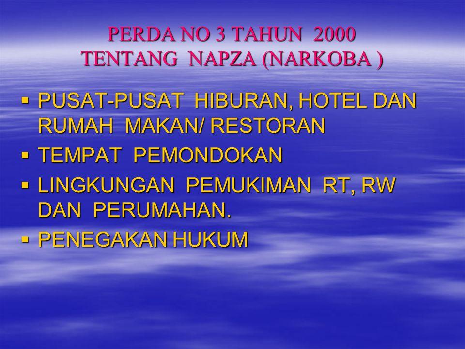 PERDA NO 3 TAHUN 2000 TENTANG NAPZA (NARKOBA )