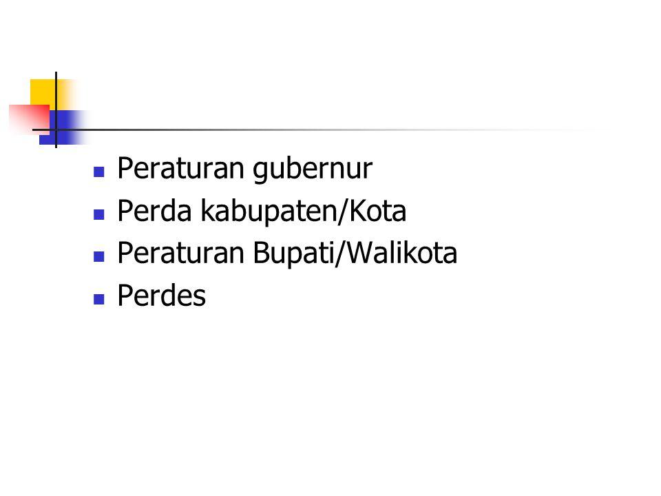 Peraturan gubernur Perda kabupaten/Kota Peraturan Bupati/Walikota Perdes