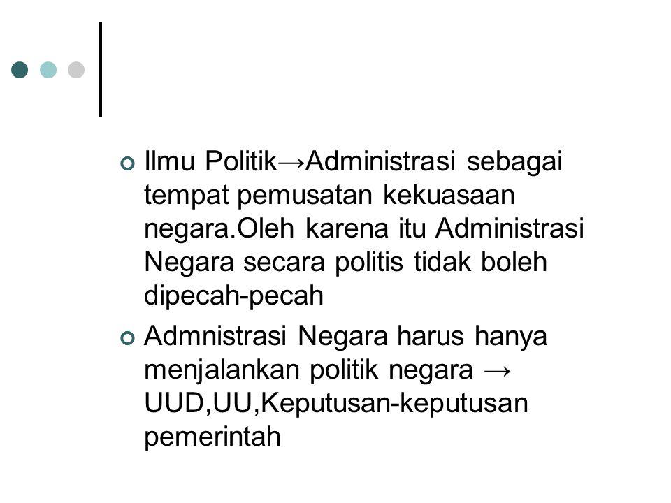 Ilmu Politik→Administrasi sebagai tempat pemusatan kekuasaan negara