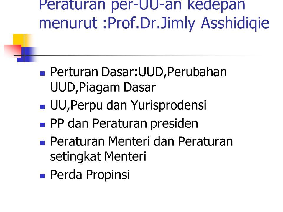 Peraturan per-UU-an kedepan menurut :Prof.Dr.Jimly Asshidiqie