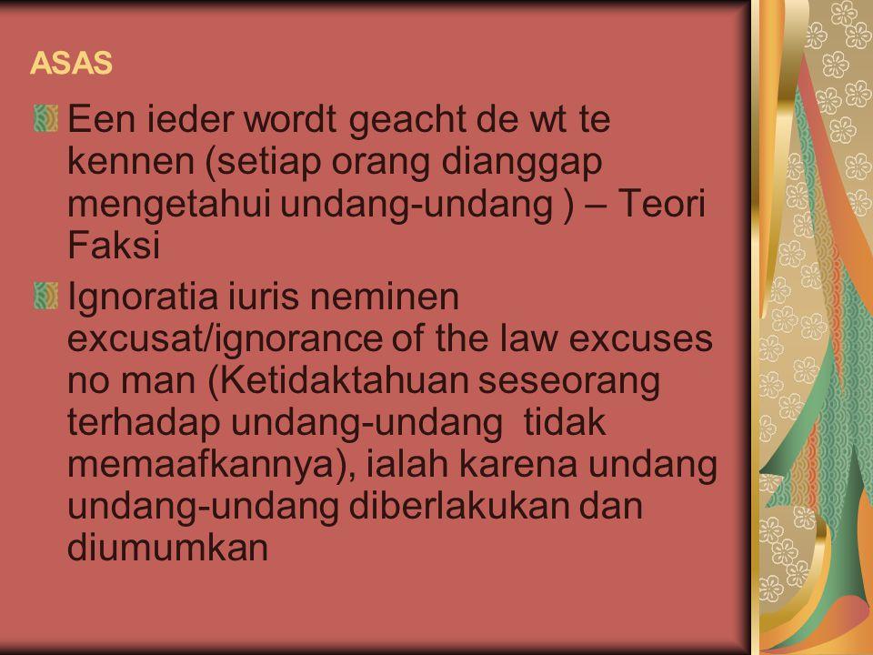 ASAS Een ieder wordt geacht de wt te kennen (setiap orang dianggap mengetahui undang-undang ) – Teori Faksi.