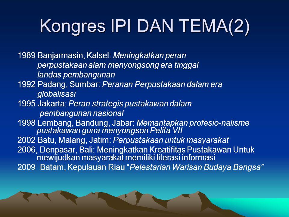 Kongres IPI DAN TEMA(2) 1989 Banjarmasin, Kalsel: Meningkatkan peran