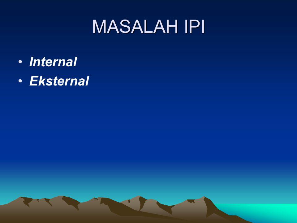 MASALAH IPI Internal Eksternal