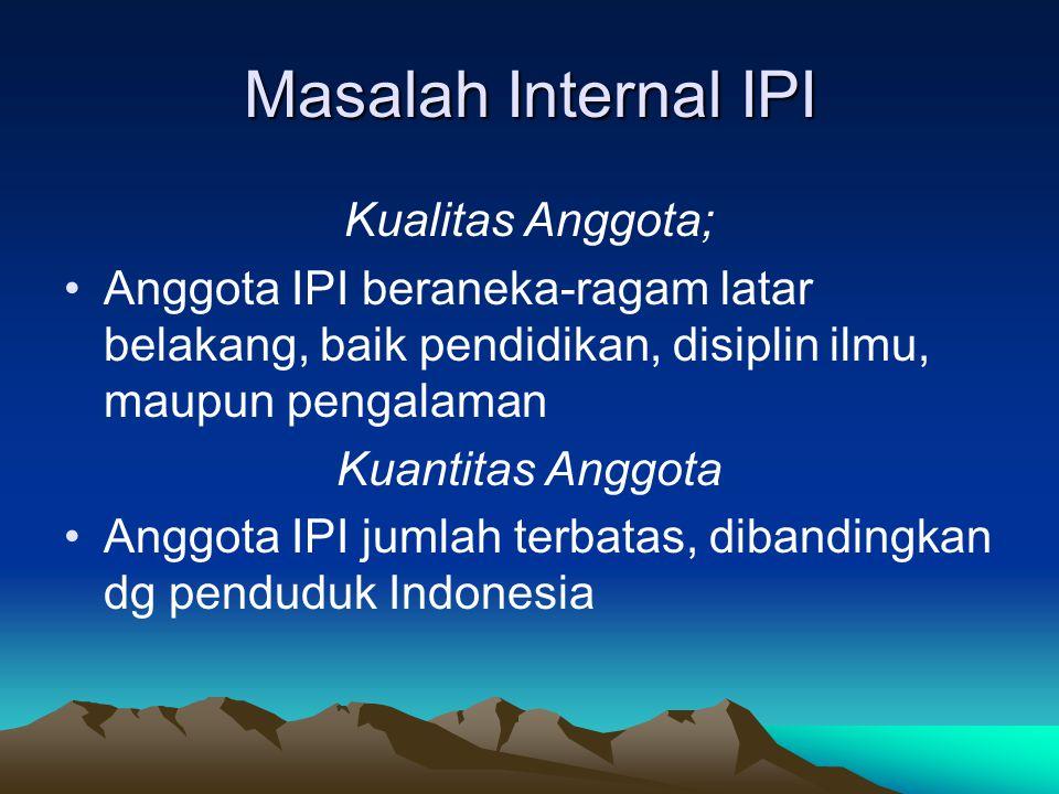 Masalah Internal IPI Kualitas Anggota;