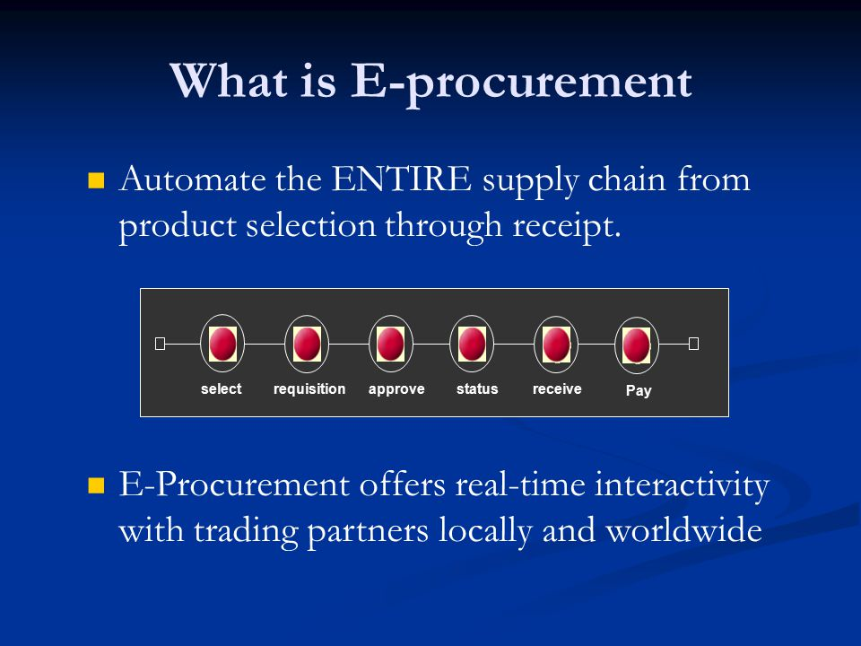 What is E-procurement Automate the ENTIRE supply chain from product selection through receipt. select.