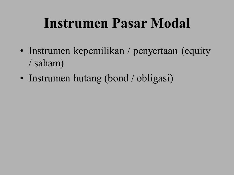 Instrumen Pasar Modal Instrumen kepemilikan / penyertaan (equity / saham) Instrumen hutang (bond / obligasi)