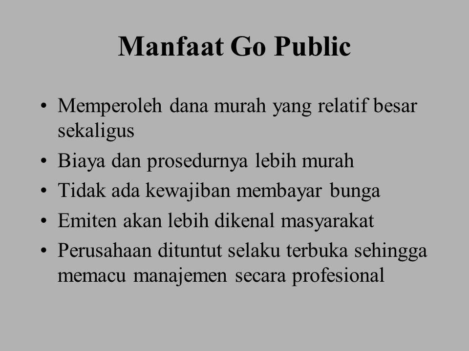Manfaat Go Public Memperoleh dana murah yang relatif besar sekaligus