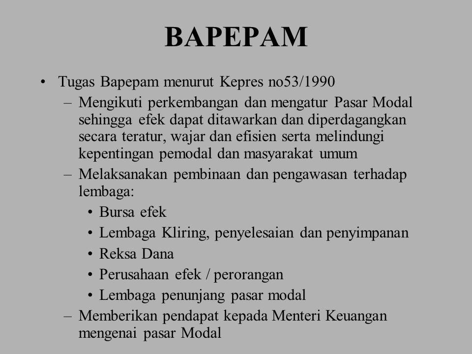 BAPEPAM Tugas Bapepam menurut Kepres no53/1990