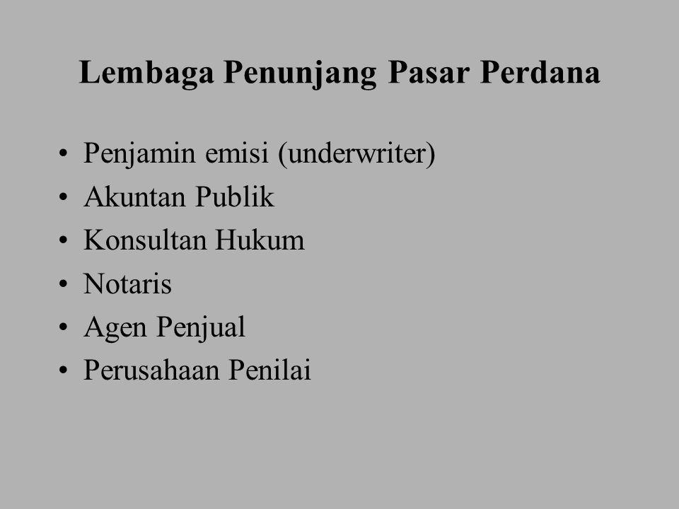 Lembaga Penunjang Pasar Perdana