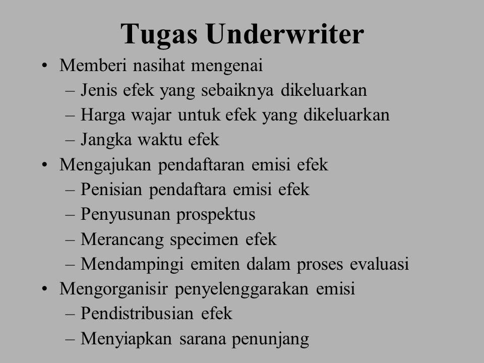 Tugas Underwriter Memberi nasihat mengenai