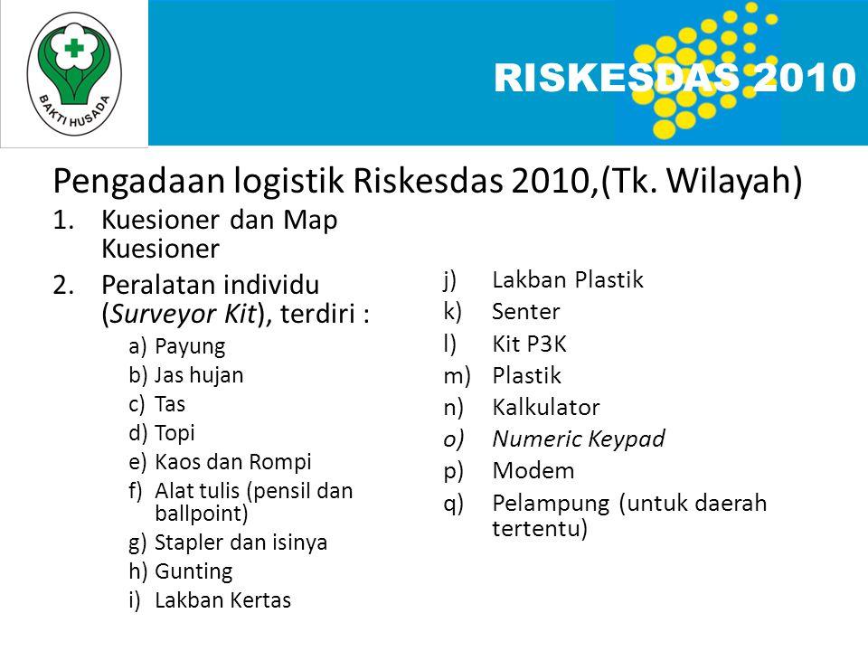 Pengadaan logistik Riskesdas 2010,(Tk. Wilayah)