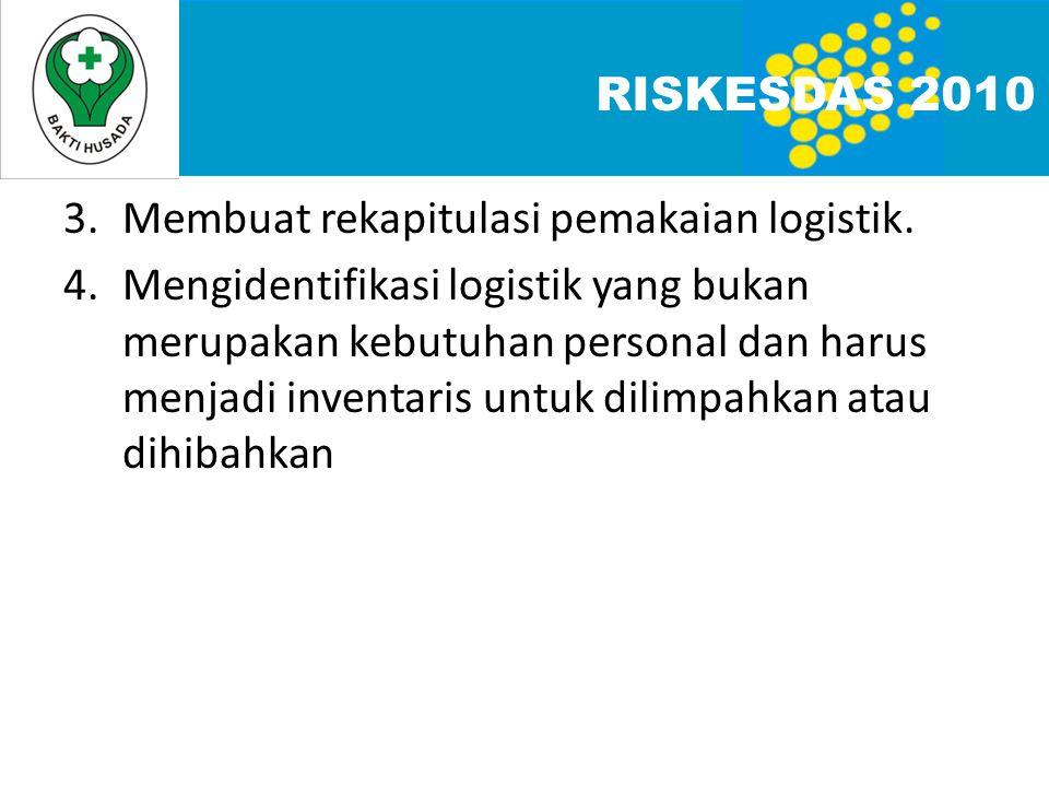 RISKESDAS 2010 3. Membuat rekapitulasi pemakaian logistik.