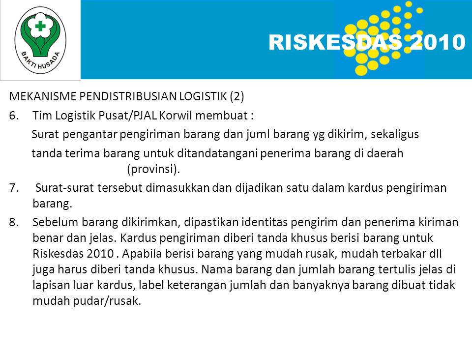 RISKESDAS 2010 MEKANISME PENDISTRIBUSIAN LOGISTIK (2)