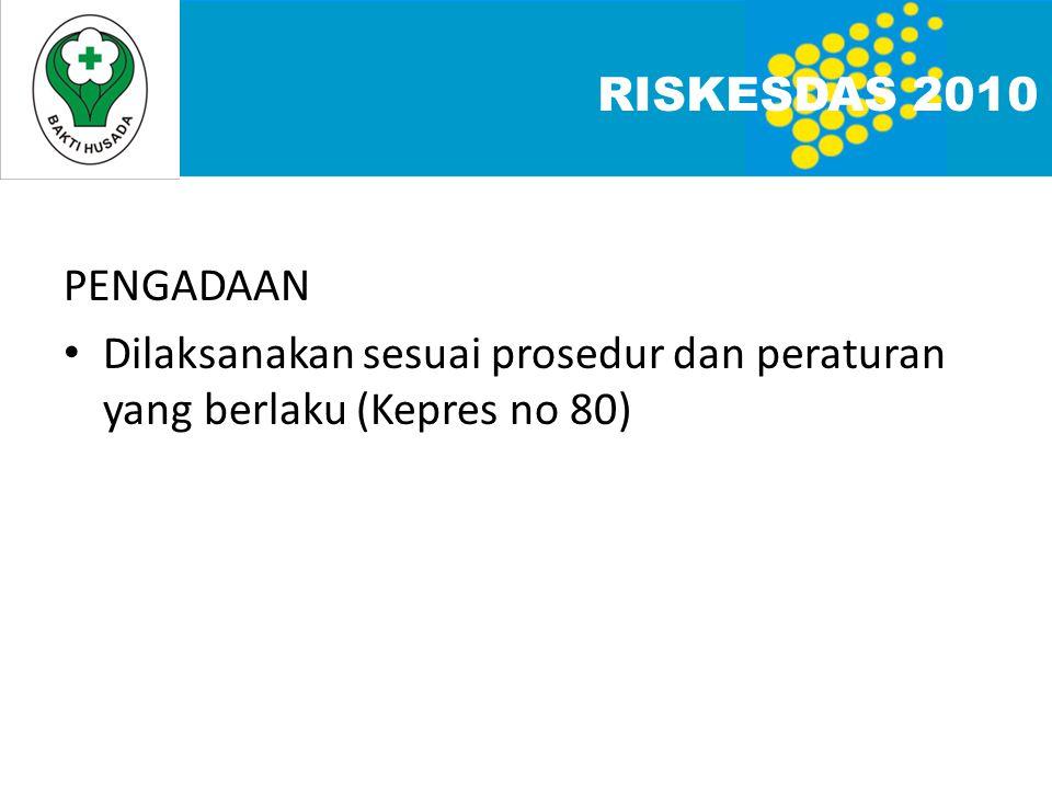 RISKESDAS 2010 PENGADAAN Dilaksanakan sesuai prosedur dan peraturan yang berlaku (Kepres no 80)