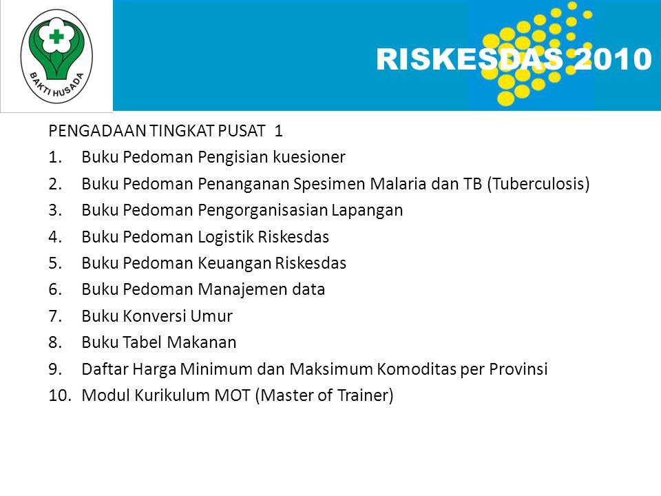 RISKESDAS 2010 PENGADAAN TINGKAT PUSAT 1