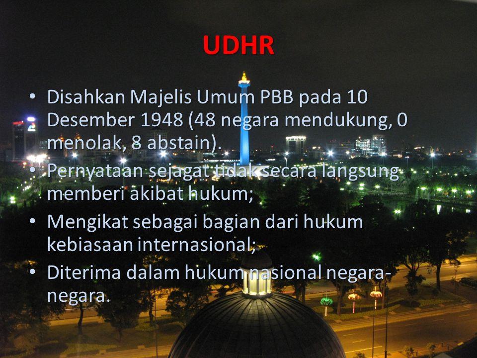 UDHR Disahkan Majelis Umum PBB pada 10 Desember 1948 (48 negara mendukung, 0 menolak, 8 abstain).