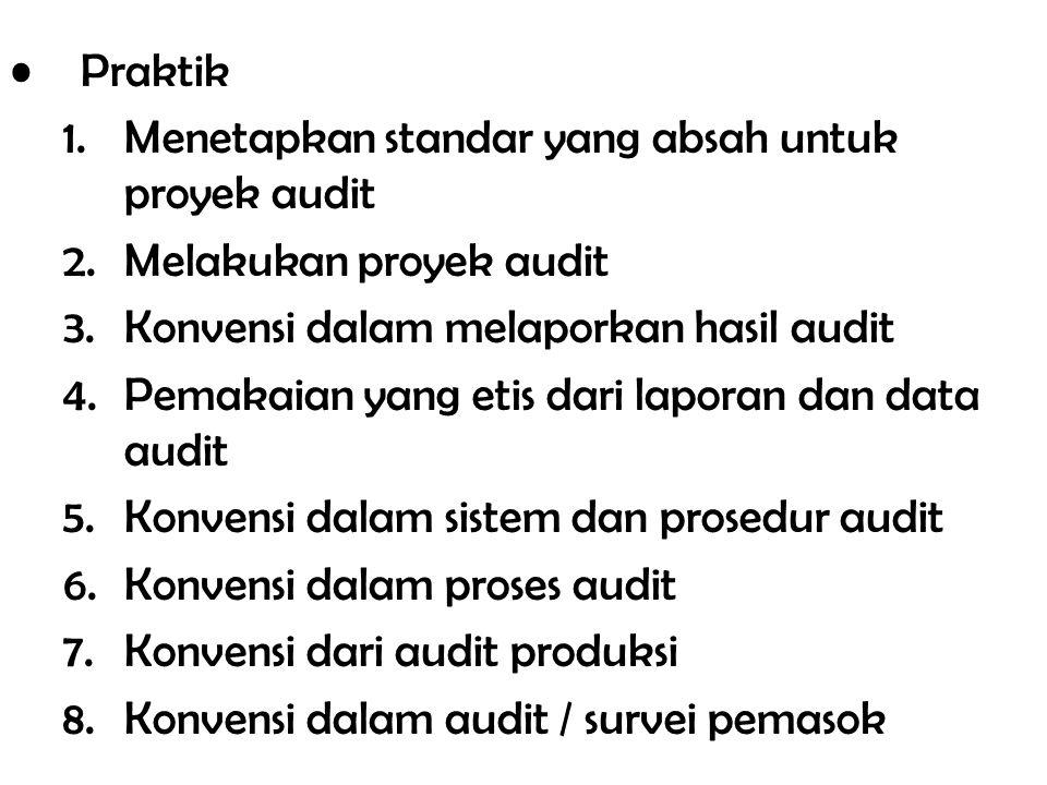Praktik Menetapkan standar yang absah untuk proyek audit. Melakukan proyek audit. Konvensi dalam melaporkan hasil audit.