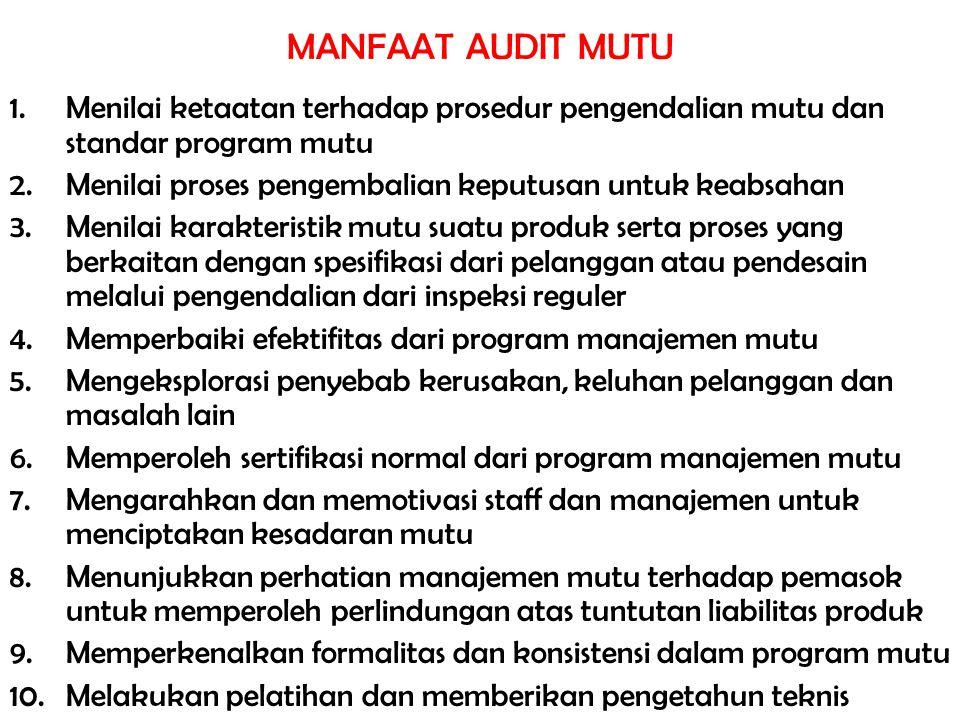 MANFAAT AUDIT MUTU Menilai ketaatan terhadap prosedur pengendalian mutu dan standar program mutu.