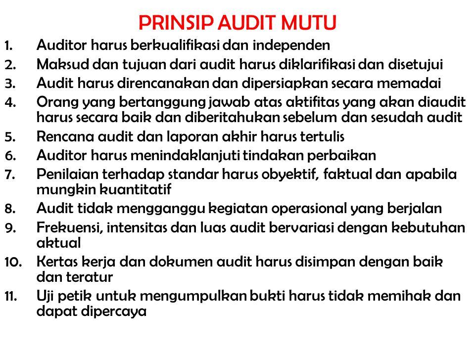 PRINSIP AUDIT MUTU Auditor harus berkualifikasi dan independen