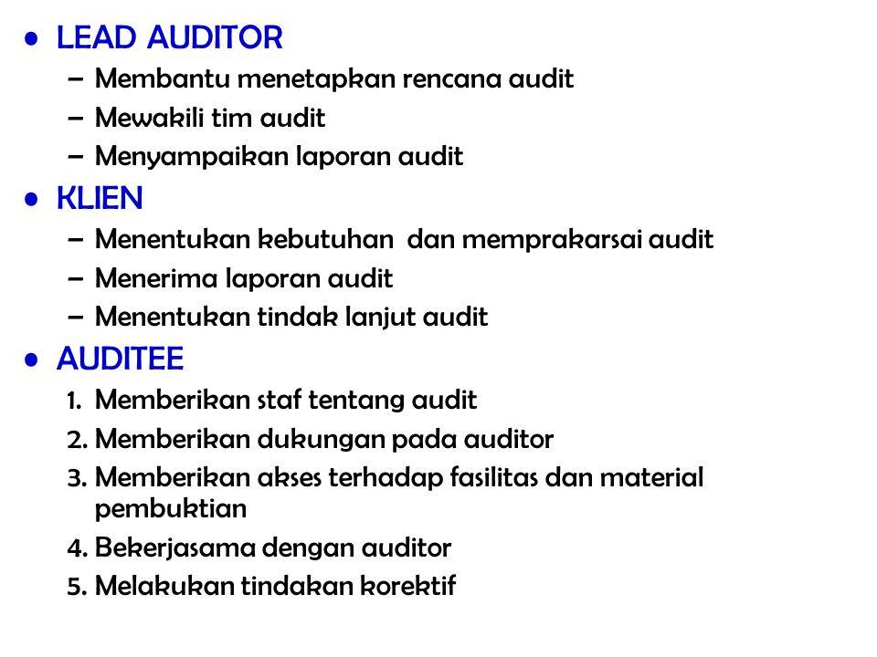 LEAD AUDITOR KLIEN AUDITEE Membantu menetapkan rencana audit
