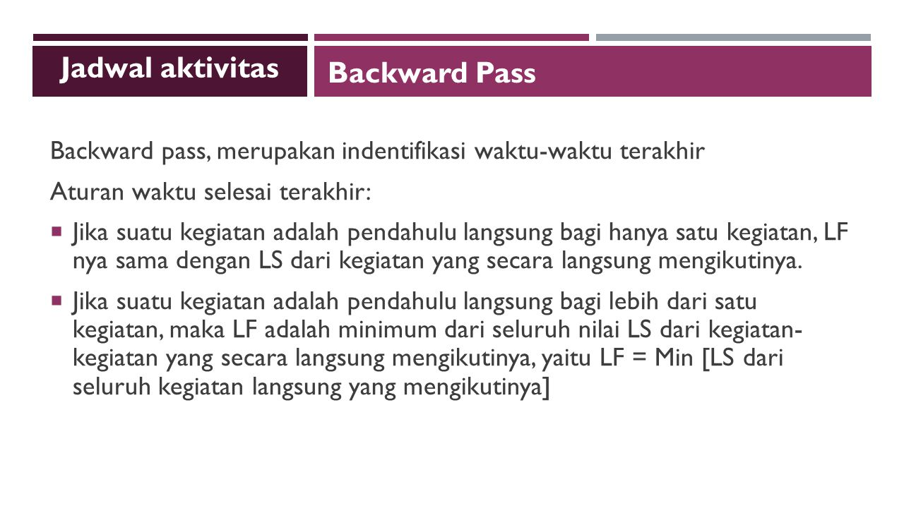 Jadwal aktivitas Backward Pass