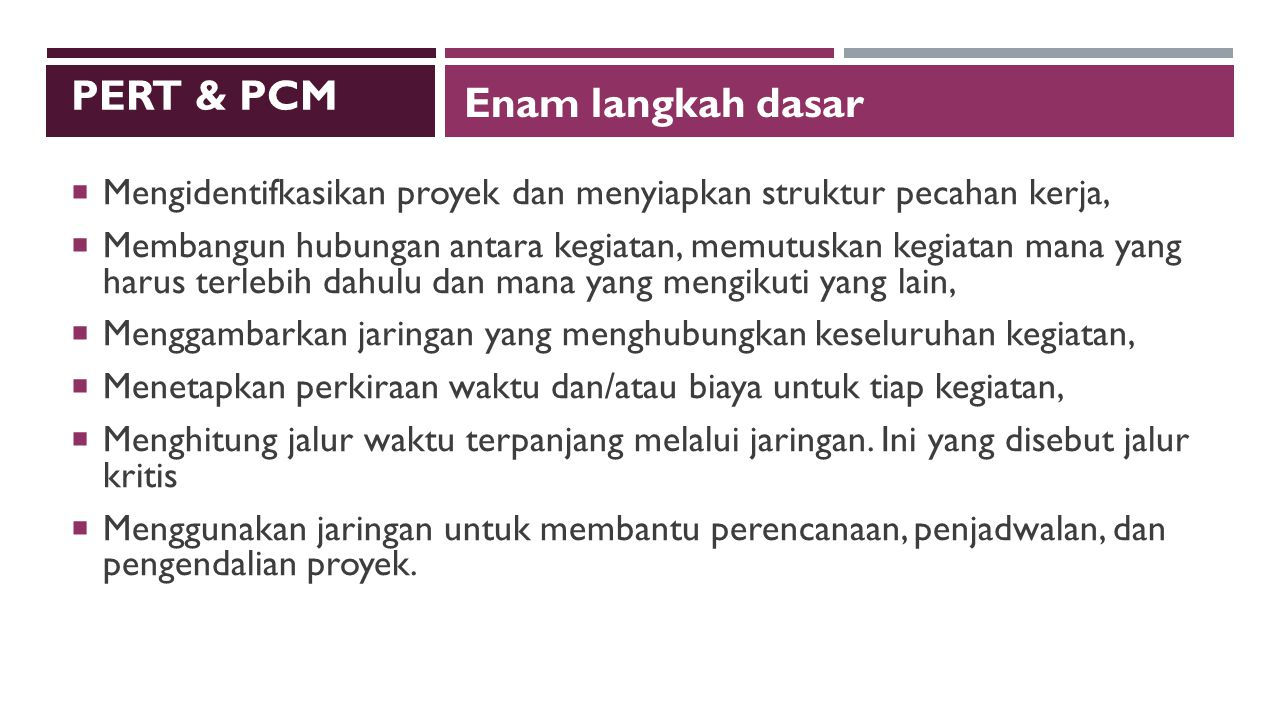 PERT & PCM Enam langkah dasar