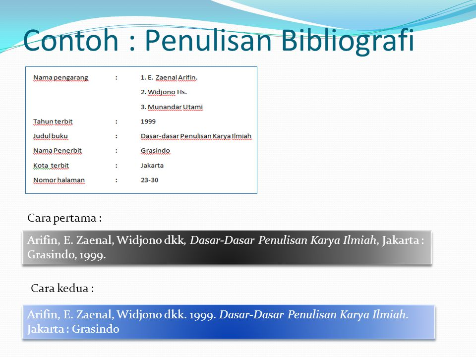 Contoh : Penulisan Bibliografi