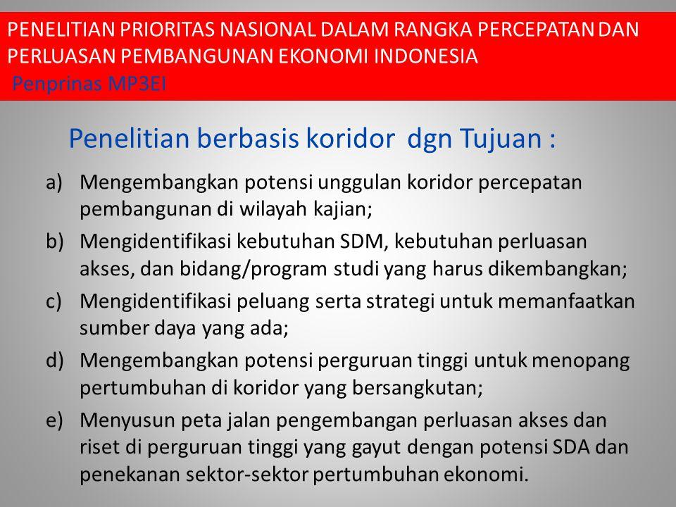 Penelitian berbasis koridor dgn Tujuan :