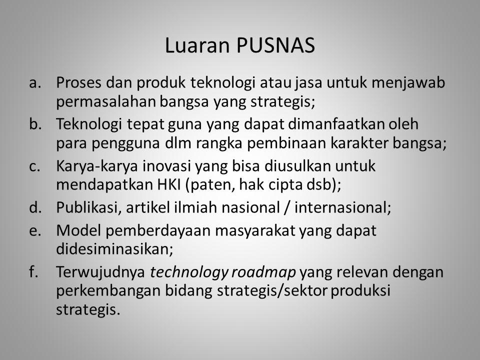 Luaran PUSNAS Proses dan produk teknologi atau jasa untuk menjawab permasalahan bangsa yang strategis;
