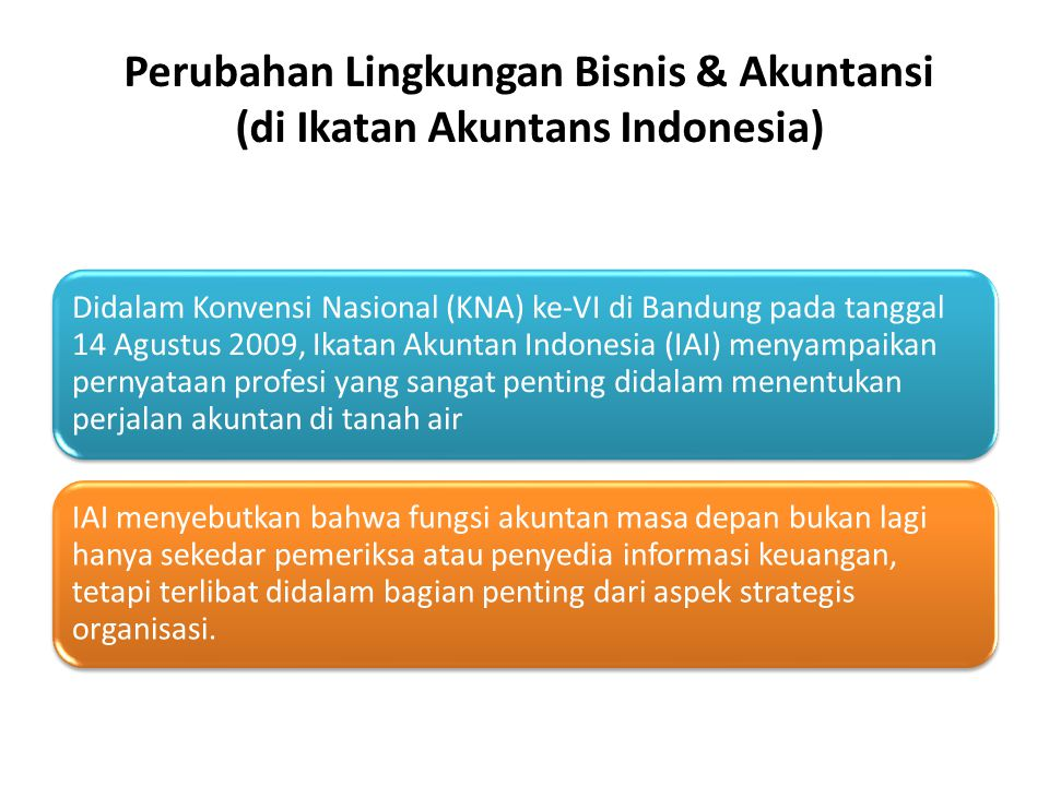Perubahan Lingkungan Bisnis & Akuntansi (di Ikatan Akuntans Indonesia)