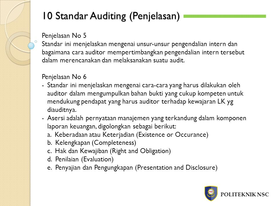 10 Standar Auditing (Penjelasan)