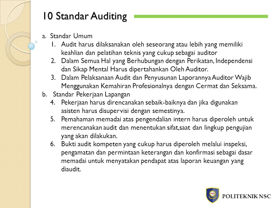 10 Standar Auditing Standar Umum
