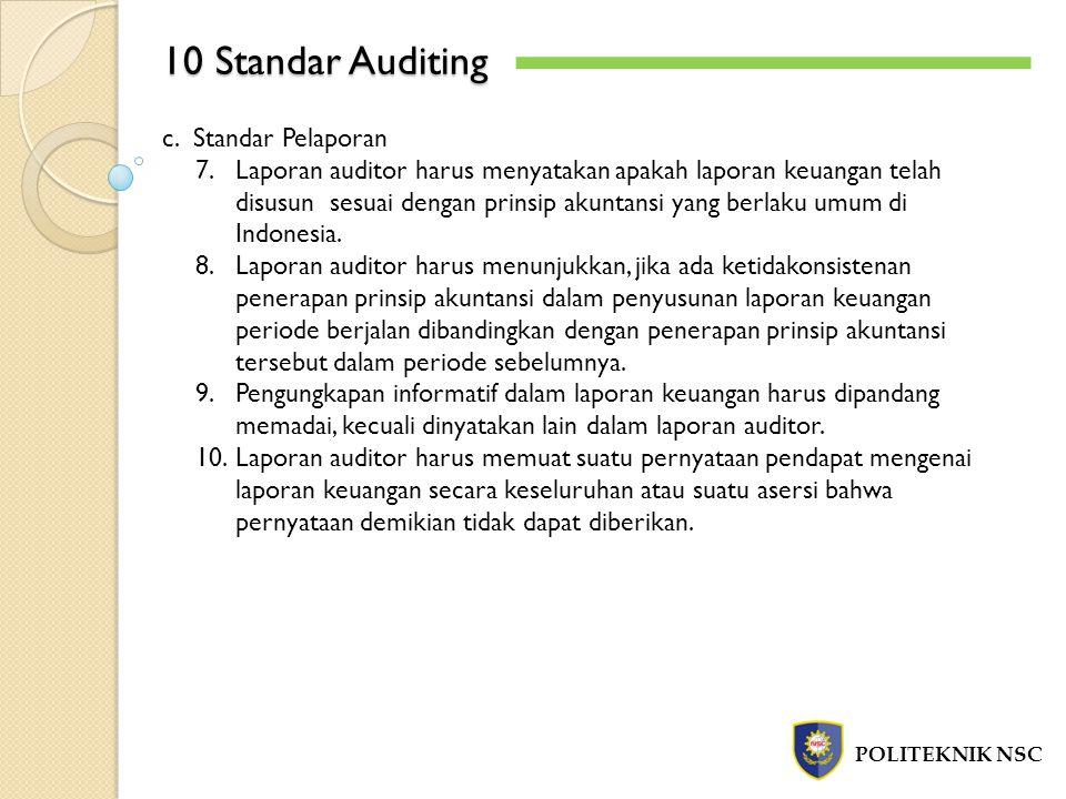 10 Standar Auditing c. Standar Pelaporan