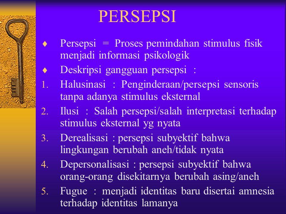 PERSEPSI Persepsi = Proses pemindahan stimulus fisik menjadi informasi psikologik. Deskripsi gangguan persepsi :