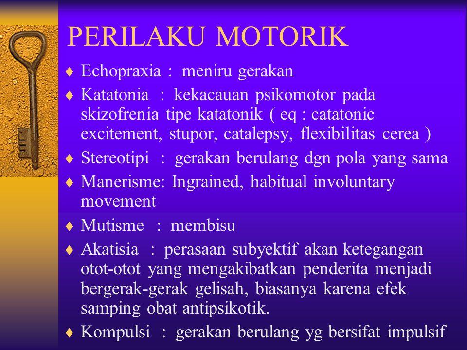PERILAKU MOTORIK Echopraxia : meniru gerakan