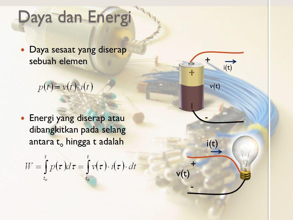 Daya dan Energi Daya sesaat yang diserap sebuah elemen +