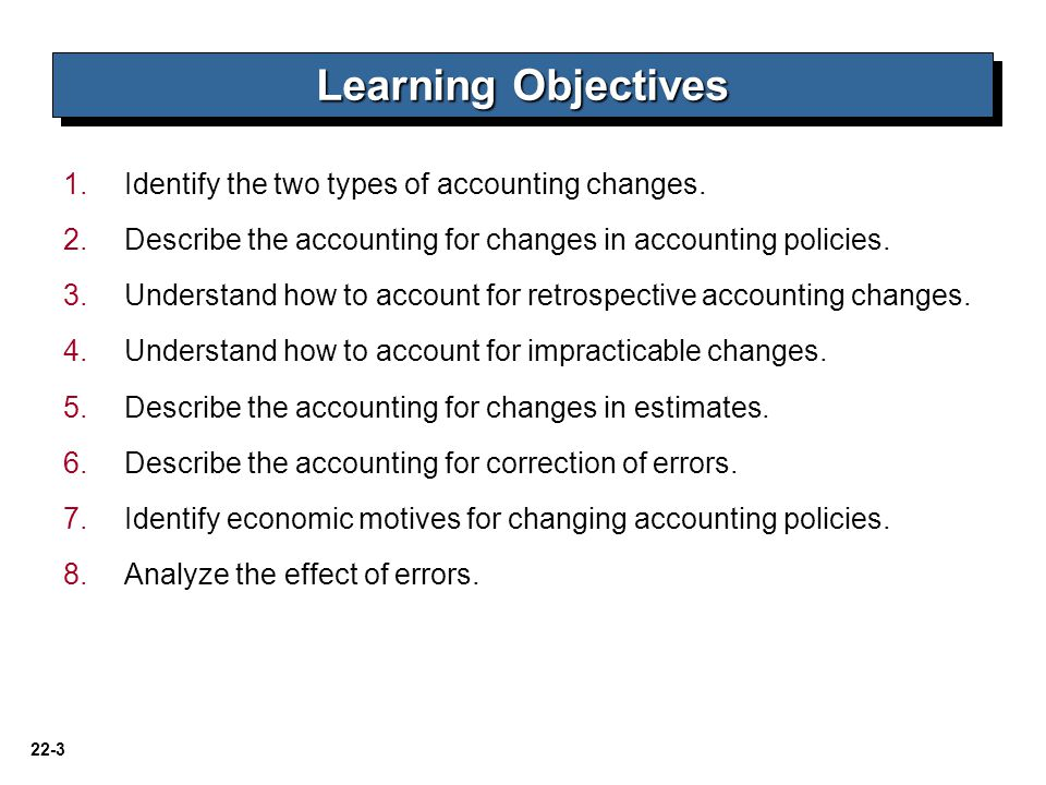 Learning Objectives Identify the two types of accounting changes.