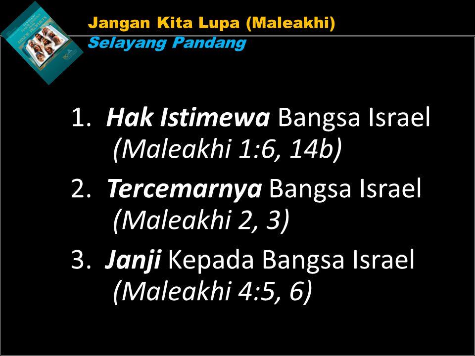 1. Hak Istimewa Bangsa Israel (Maleakhi 1:6, 14b)