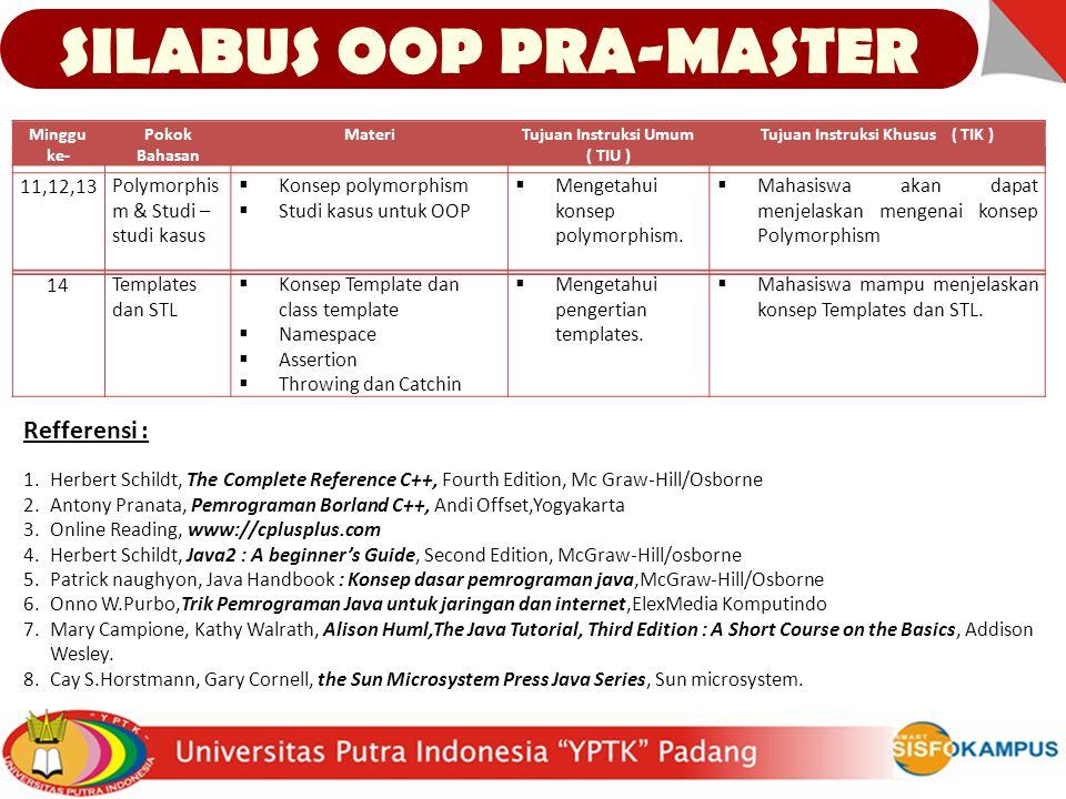 SILABUS OOP PRA-MASTER Tujuan Instruksi Khusus ( TIK )