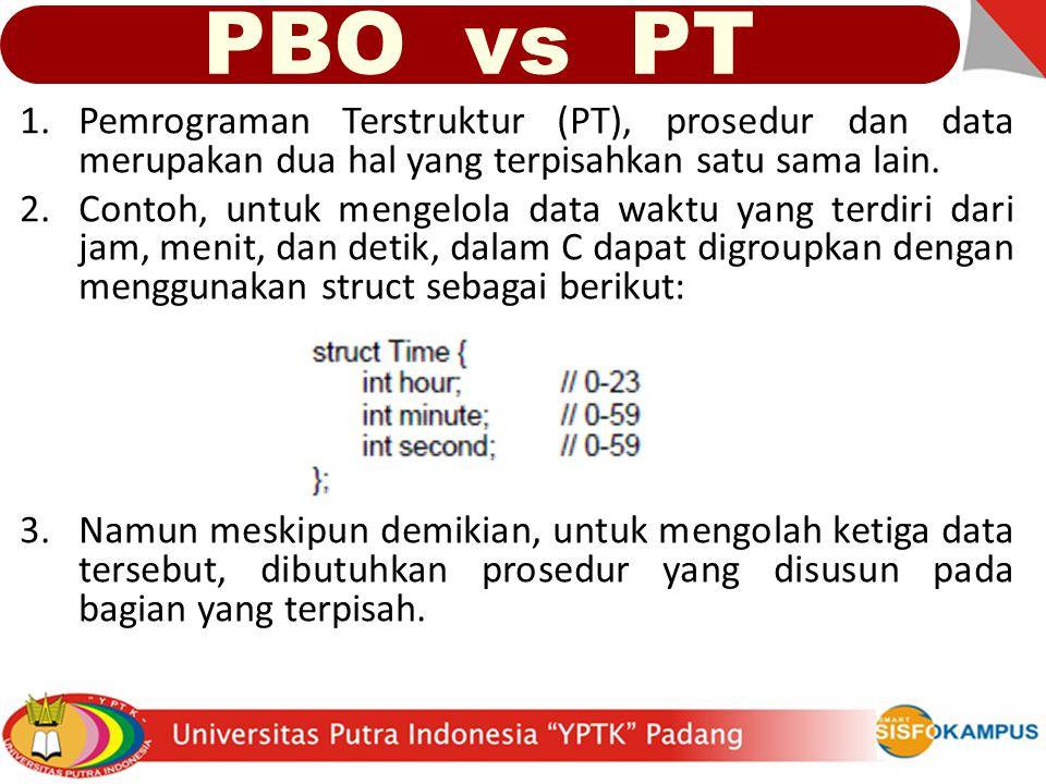 PBO vs PT Pemrograman Terstruktur (PT), prosedur dan data merupakan dua hal yang terpisahkan satu sama lain.