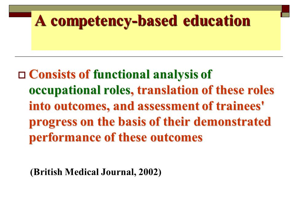 A competency-based education