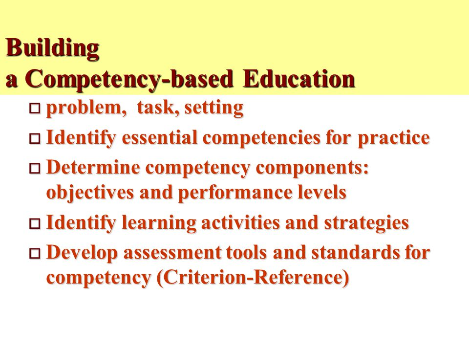 Building a Competency-based Education