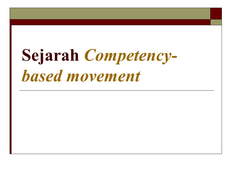 Sejarah Competency-based movement