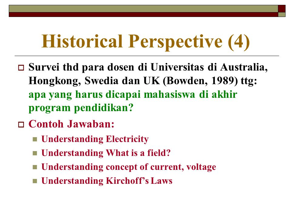 Historical Perspective (4)