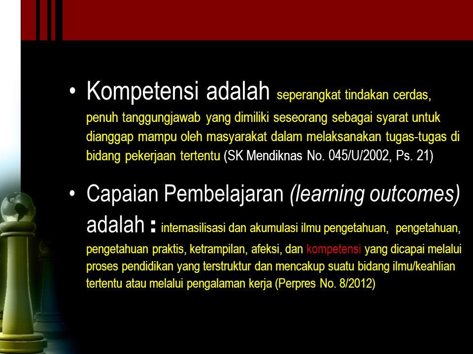 Kompetensi adalah seperangkat tindakan cerdas, penuh tanggungjawab yang dimiliki seseorang sebagai syarat untuk dianggap mampu oleh masyarakat dalam melaksanakan tugas-tugas di bidang pekerjaan tertentu (SK Mendiknas No. 045/U/2002, Ps. 21)